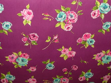 "Prestigious Textiles ""Ella"" Mulberr Floral Cotton Curtain/Soft Furnishing Fabric"